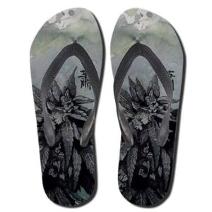 Awesome Marijuana Hemp Monochrome Art Thong Sandals