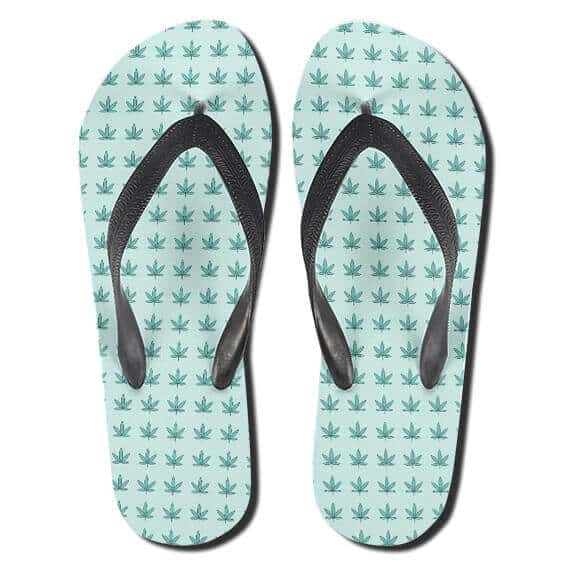 Cool Mini 420 Cannabis Leaves Pattern Thong Sandals