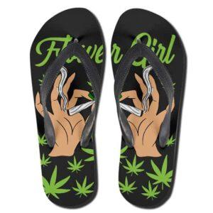 Flower Girl Cannabis Lady Stoner 420 Flip Flops Slippers