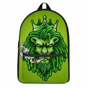 Green Ganja Lion on Spliff Coolest Dopest 420 Weed Backpack