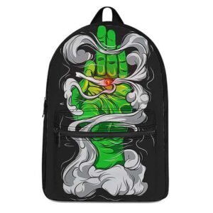 Green Hand Smoking A Spliff of Weed Dopest Coolest Backpack