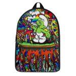 Green Smurf Smoking Blunt Trippy Background Coolest Backpack