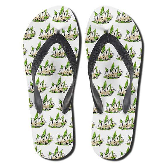 Hemp Cannabis Sativa Plant Pattern 420 Thong Sandals