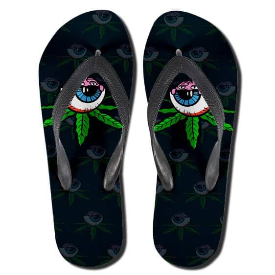 High Cannabis Leaf Eye Art 420 Flip Flops Slippers
