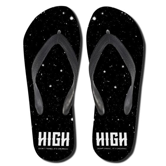 High Ganja Stars Don't Panic It's Organic Black Slippers