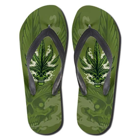 High Smoking Skull Cannabis Leaves Hair Thong Sandals