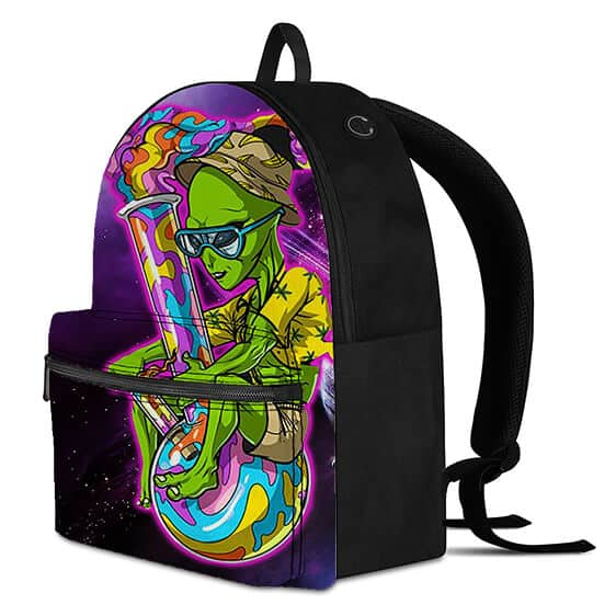 Hip Alien with a Huge Bong Galaxy Floating Dopest Backpack