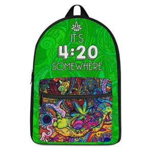 Its 420 Somewhere Indica Colorful and Trippy Dope Backpack