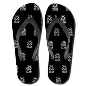 It's 420 Somewhere Pattern Black Weed Flip Flops Slippers