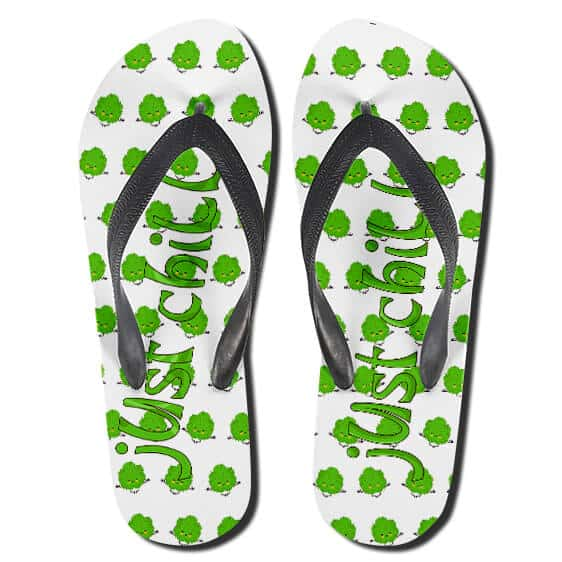 Just Chill Ganja Weed Nuggets Pattern Thong Sandals