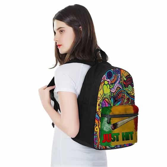 Just Hit It Spliff Colorful Trippy Background Epic Backpack