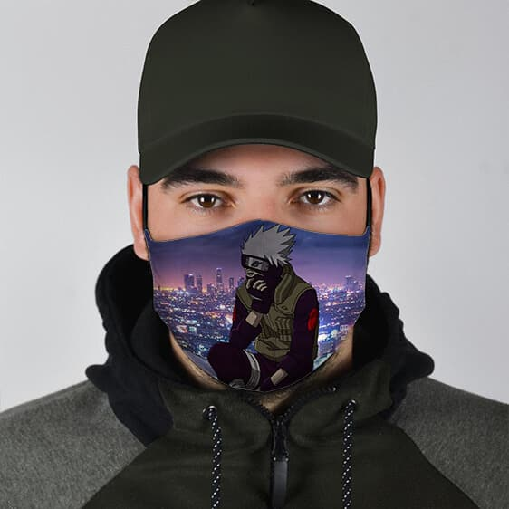 Kakashi Hatake City Night Life Stylish Naruto Face Mask