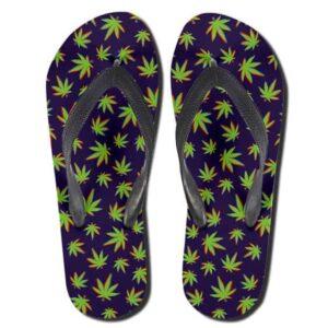 Marijuana Ganja Leaves Pattern Purple 420 Flip Flops