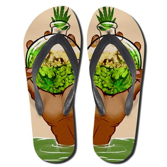 Marijuana Glass Kush Container Weed Flip Flops Sandals