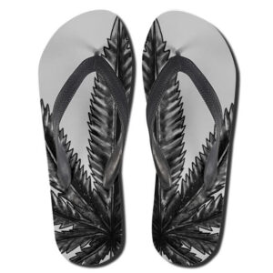 Marijuana Grass Charcoal Art Design 420 Thong Sandals