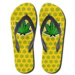 Marijuana Indica Strain Yellow 420 Flip Flops Sandals