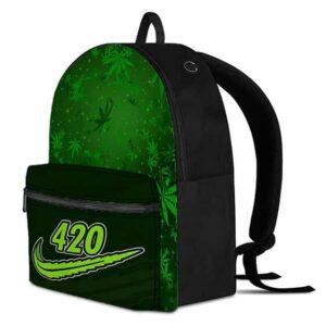 Marijuana Leaf 420 Nike Parody Weed Green Backpack Bag