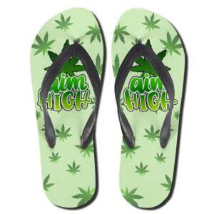Marijuana Leaves Pattern Aim High Weed Flip Flops Sandals