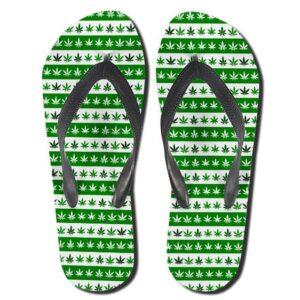 Marijuana Pattern White And Green Weed Flip Flops Sandals