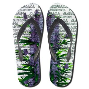 Marijuana Purple Flower Buds 420 Flip Flops Slippers