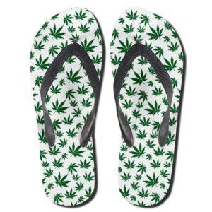 Marijuana Sativa Strain Leaves Pattern Weed Flip Flops