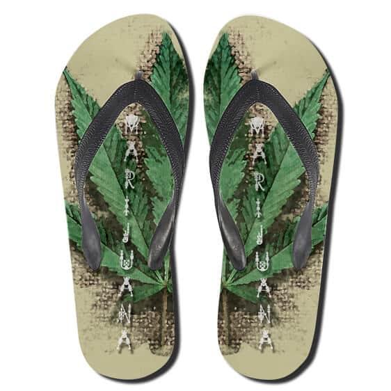 Marijuana Strain Leaf Awesome Weed Flip Flops Slippers