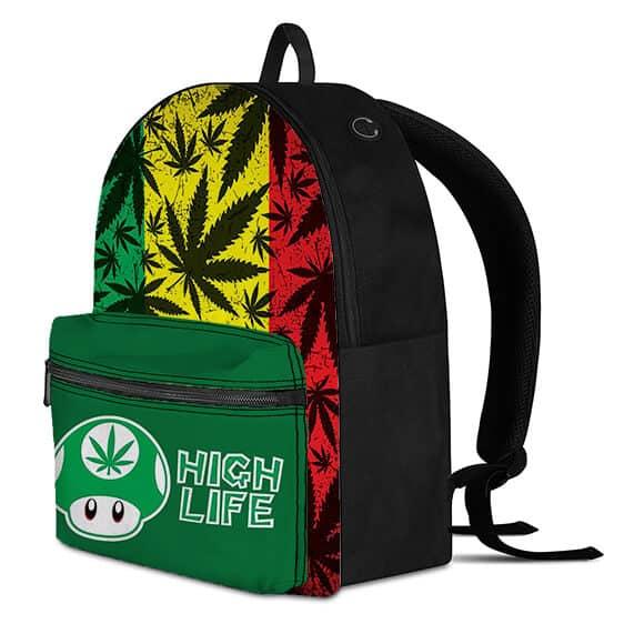Mario Mushroom High Life Rasta Ganja Weed Dopest Backpack