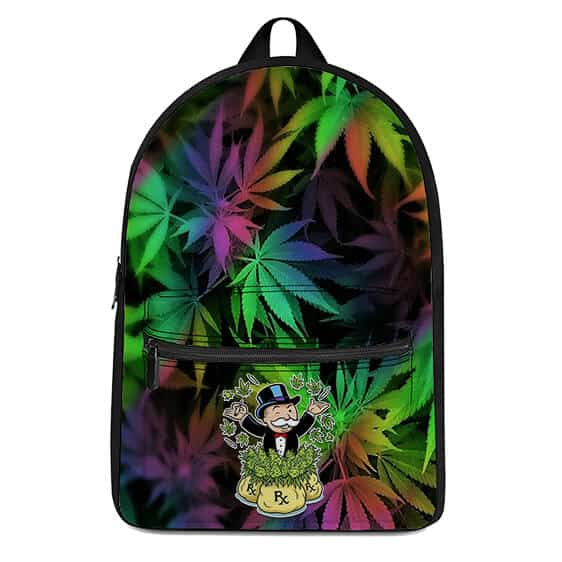 Monopoly Man Money and Weed Hemp Background Dopest Backpack