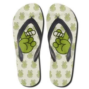 Peace Hand Sign Smoking Weed Pattern Flip Flops Sandals
