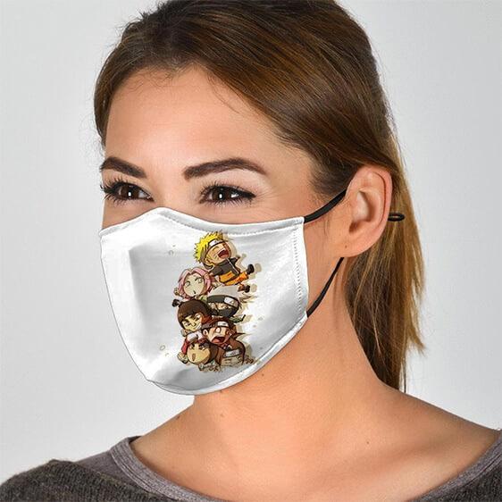 Playful Chibi Konoha Ninjas Adorable Naruto Face Mask
