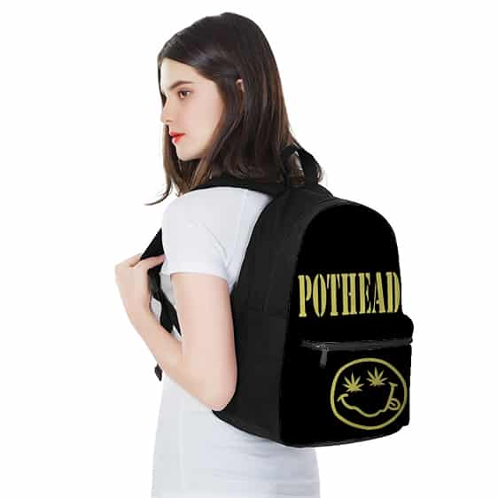 Pothead Marijuana Leaf Smiley Cool Awesome Black Backpack