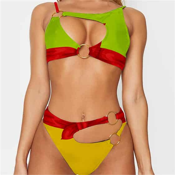 Dragon Ball Z Launch Sexy Cosplay Green Yellow Ring Swimsuit