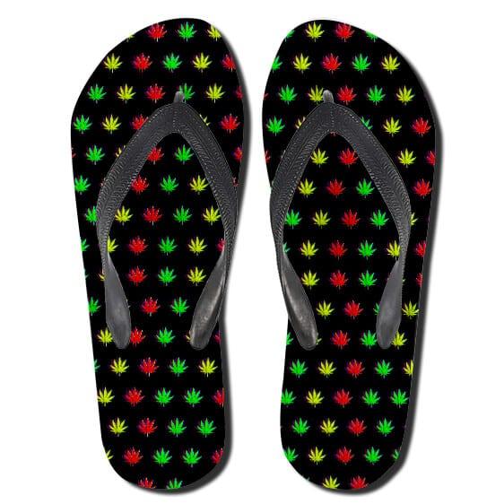 Rastafari Marijuana Leaves Pattern Weed Thong Sandals