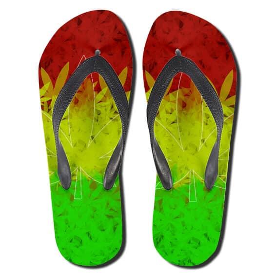 Rastafari Red Yellow And Green Color Symbols Weed Flip Flops