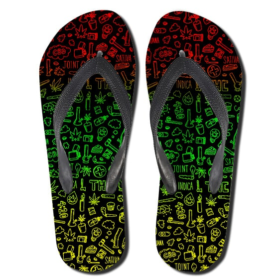 Rastafarian Colours Cannabis Mini Pattern 420 Flip Flops