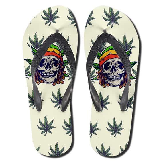Rastafarian Skull Cannabis Weed Flip Flops Slippers