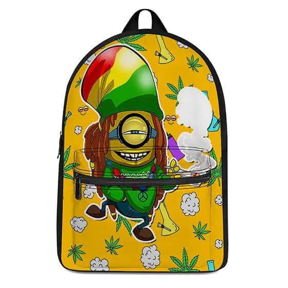 Rastafarian Minion Smoking a Spliff of Weed Coolest Backpack