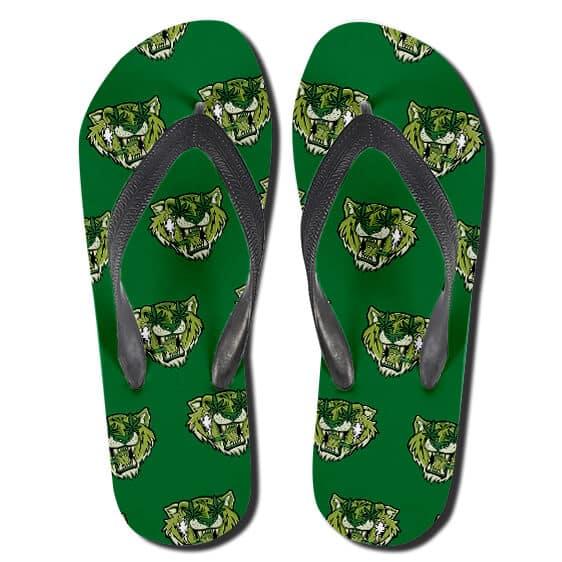 Roaring Tiger Ganja Leaves Eyes 420 Green Flip Flops