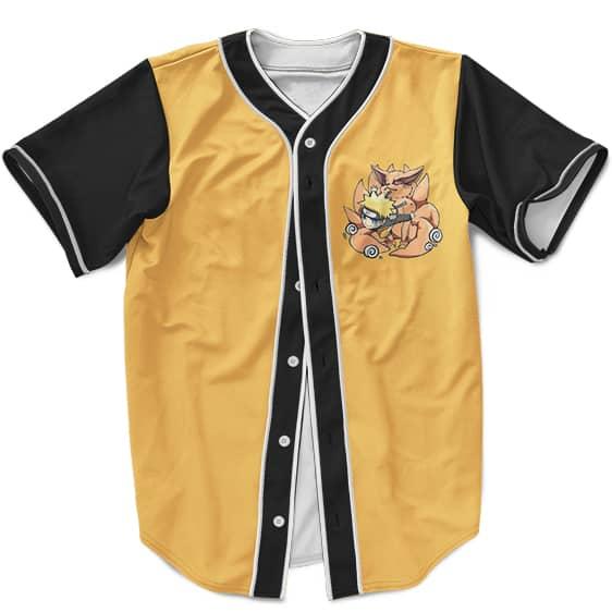 Simple And Cute Chibi Naruto With Kurama MLB Baseball Jersey