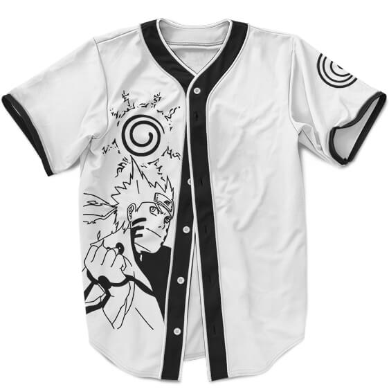 Simple Neat Black And White Uzumaki Naruto Baseball Jersey