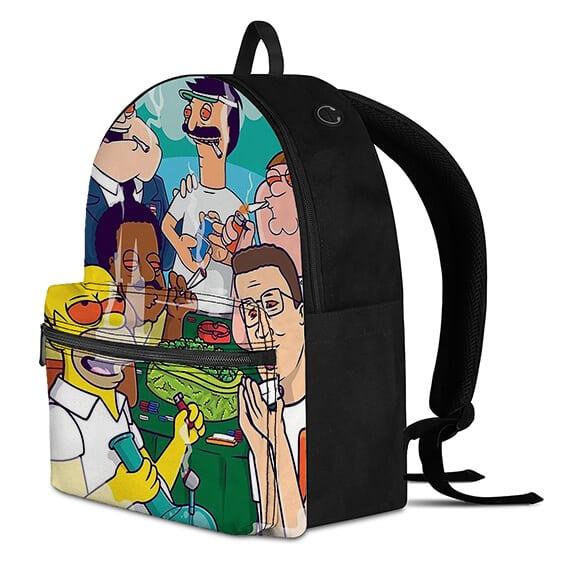 Sitcom Cartoon Dads Smoking Kush Awesome and Cool Backpack