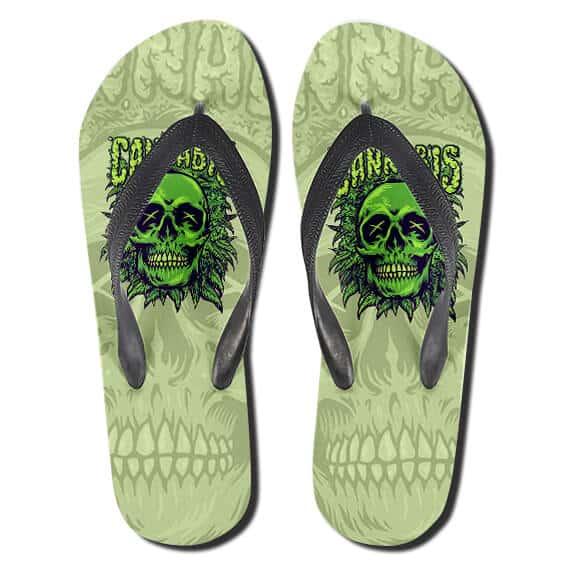 Skull Cannabis Art Dope Marijuana Flip Flops Sandals