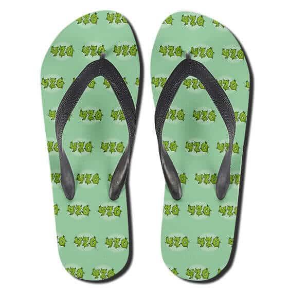 Smoking Marijuana High Time 420 Pattern Thong Sandals