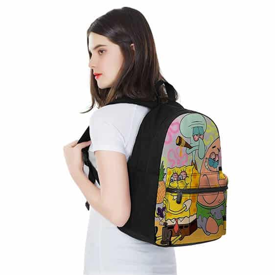 Stoned Spongebob Patrick and Squidward Dope and Fun Backpack