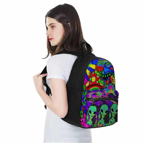 Three Aliens Smoking Weed Colorful Psychedelic Fun Backpack