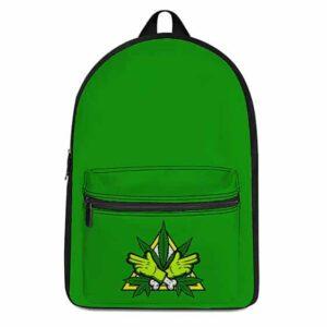 Unique Marijuana Logo Minimalist Green 420 Knapsack