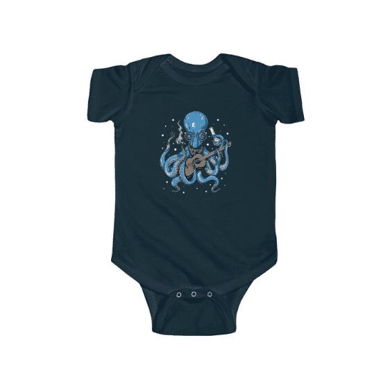 Blue Octopus Hitting Bong Art Dope 420 Weed Newborn Onesie