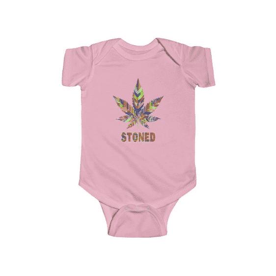 Colorful Cannabis Leaf Stoned Amazing Marijuana Baby Onesie