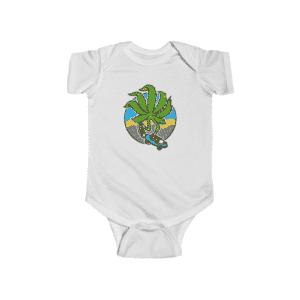 Chill Skating Marijuana Leaf Lovely 420 Weed Baby Bodysuit