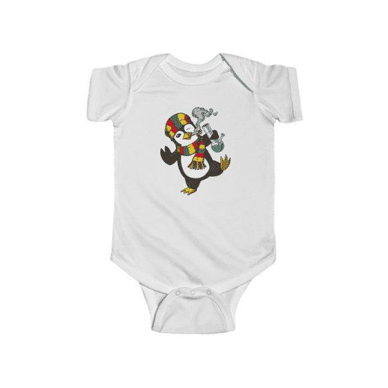 Rastaman Penguin Hitting Bong Adorable 420 Weed Baby Romper